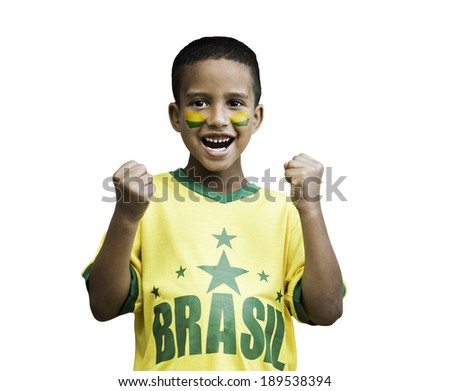 Brazilian fan boy celebrates isolated on white background - stock photo