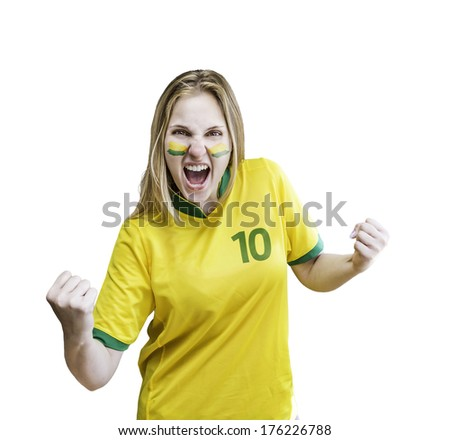 Brazilian fan celebrates on white background. Can be used as Australian uniform too. - stock photo
