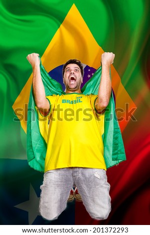 Brazilian fan celebrating with Brazil flag.