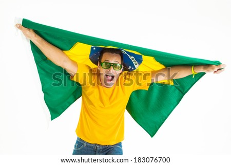Brazilian fan in a Brazilian flag