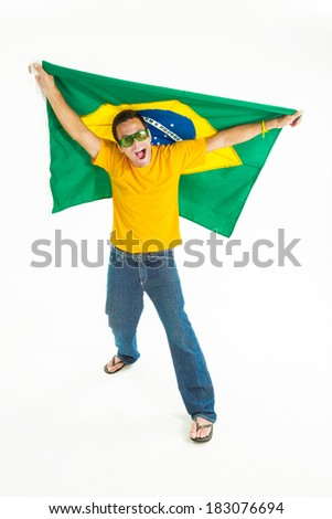 Brazilian fan opening and vibrating with the Brazilian flag