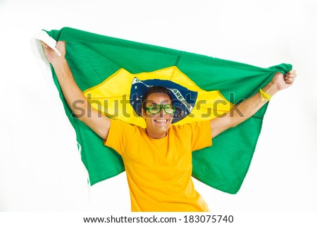 Brazilian fans parading with the Brazilian flag