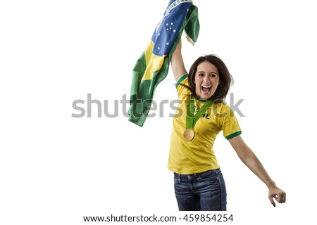 Brazilian Female Athlete Winning a golden medal on a white Background.