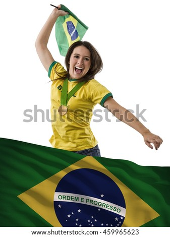 Brazilian female Athlete Winning a golden medal with a brazilian flag in front.