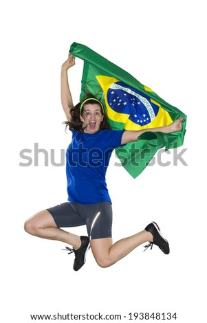 Brazilian female fan, jumping with flag