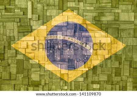 Brazilian Flag on a wooden Background - stock photo
