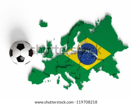 Brazilian flag on European map with national borders, isolated on white background - stock photo