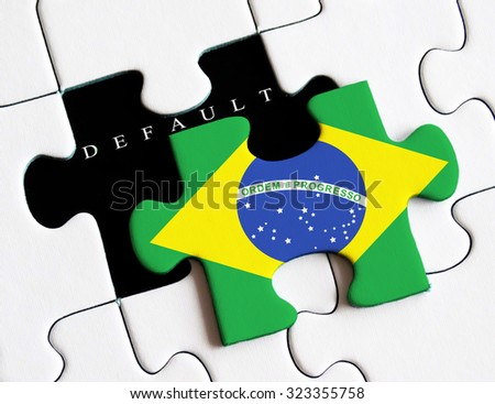 Brazilian flag on missing puzzle.Crisis and recession impact in Brazil  - stock photo