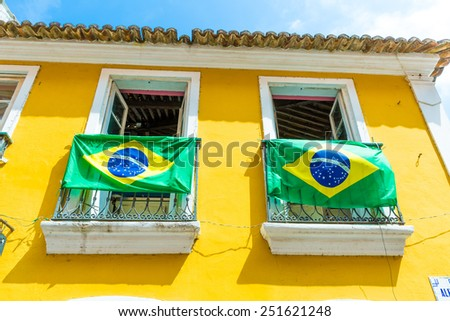 Brazilian flag on the Balcony - stock photo