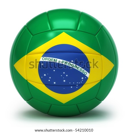 Brazilian flag on volleyball ball isolated over white