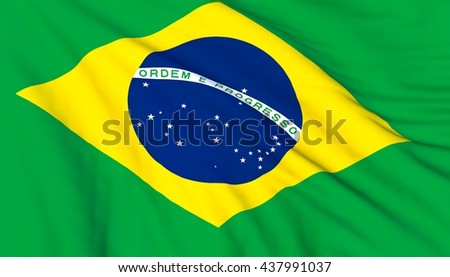 Brazilian flag waving on wind, 3D render, close up.