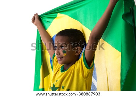 Brazilian little boy fan holding the flag of Brazil
