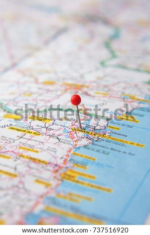 Brazilian Map Close Up City Joinville Stock Photo 737516920