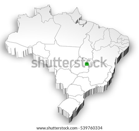 Brazilian map with states separated and highlight in Distrito Federal