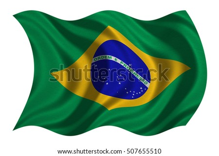 Brazilian national official flag. Patriotic symbol, banner, element, background. Correct colors. Flag of Brazil with real detailed fabric texture wavy isolated on white, 3D illustration