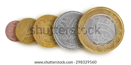 Brazilian real coin Line - stock photo