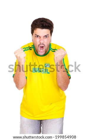 Brazilian soccer fan or supporter screams goal in the championship or competition or cup.