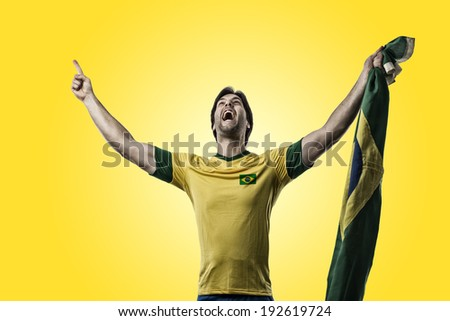Brazilian soccer player, celebrating on a yellow background.