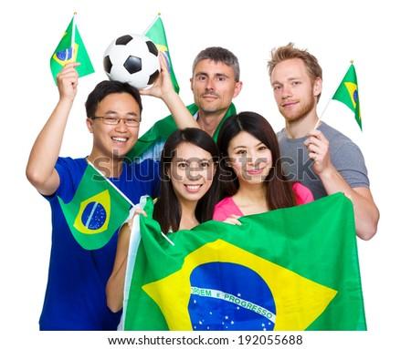 Brazilian sport soccer fans - stock photo