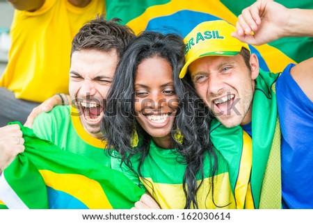 Brazilian Supporters at Stadium - stock photo