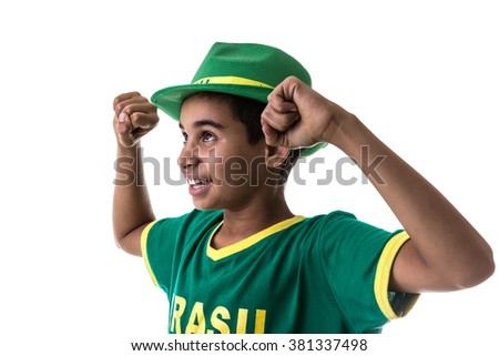 Brazilian teenager fan on white background