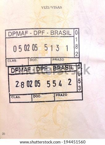 Brazilian visa passport stamp - stock photo