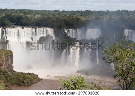 Brazilian waterfalls scene with brown water river