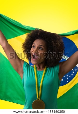 Brazilian woman fan on yellow background