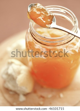 Bread and apricot jelly