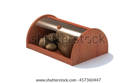Bread and bagels in wooden bread box isolated on white background, 3D illustration
