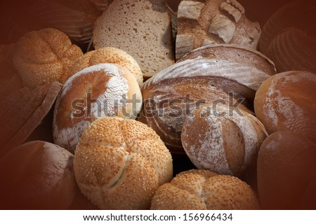 Bread and buns - bakery products - stock photo