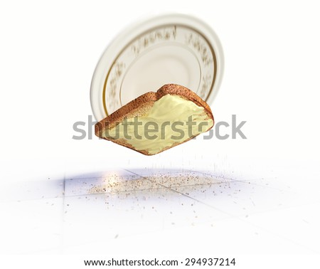 Bread and butter falling on the floor concept isolate background - stock photo