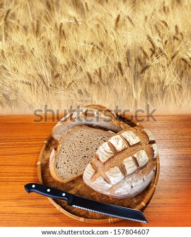 Bread and field of wheat - sliced bakery bread