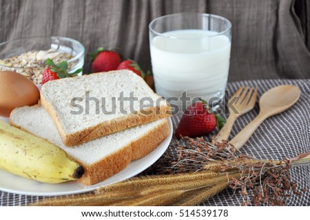 Bread and fruits with milk for breakfast
