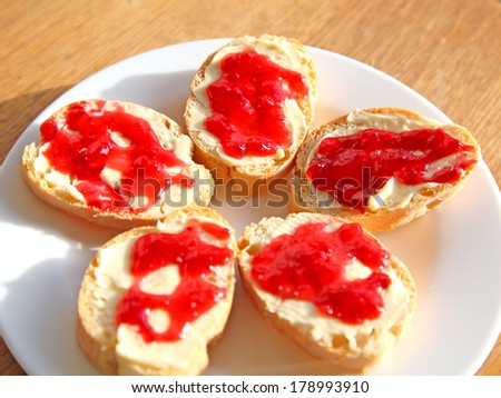 bread and jam - stock photo