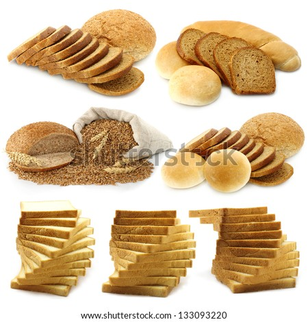 Bread and loafs set on a white background