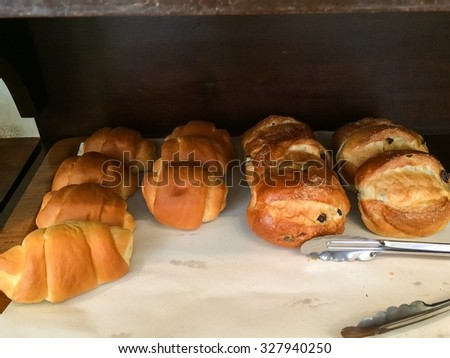 bread and pastry at bakery shop - stock photo