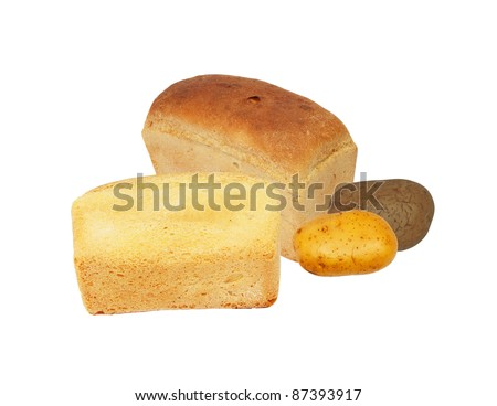 bread and potatoes on white background