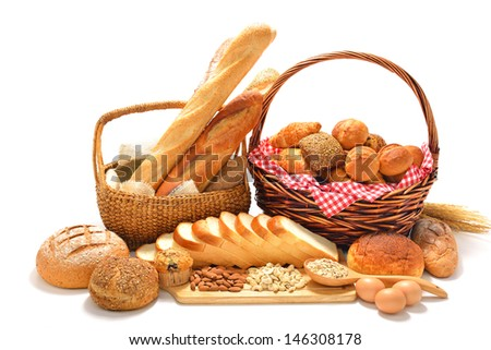 bread and rolls isolated on white background - stock photo