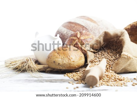bread and  seeds,isolated on white  - stock photo
