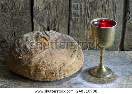Bread and wine holy communion sign symbol - stock photo