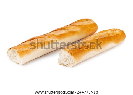 Bread baguette isolated on white background - stock photo