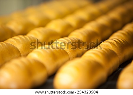 Bread bakery food factory. White bread. loaf - stock photo