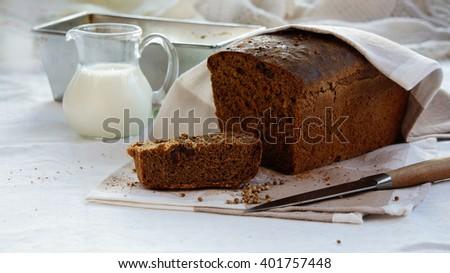bread black, rye homemade with coriander - stock photo