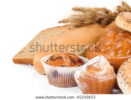 bread, bun, bagel and spike isolated on white background - stock photo