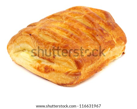 bread bun with cheese on a white background