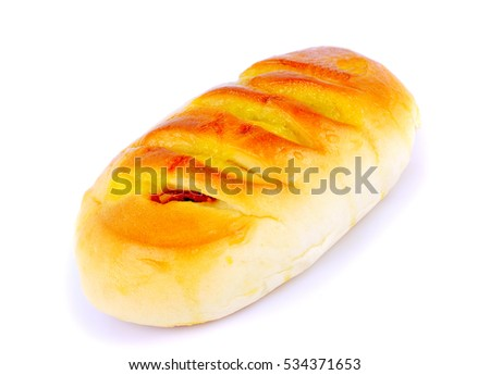 bread bun with pork on white background
