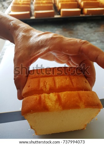 Bread Cake Piece. Slicing bread