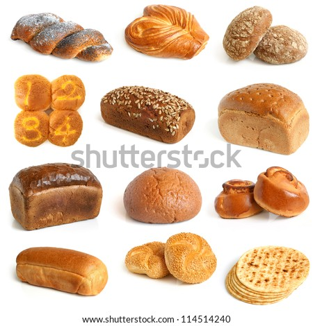 Bread collection on a white background - stock photo