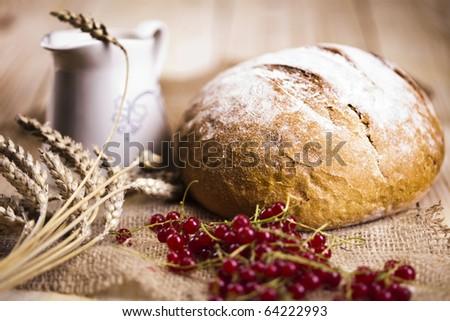 Bread composition, breakfast - stock photo
